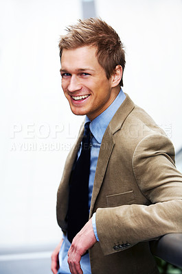 Buy stock photo Businessman full of ideas - A trendy young businessman.