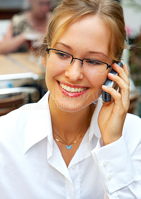 Buy stock photo This picture is of a modern businesswoman in her best age. She is successful and confident.