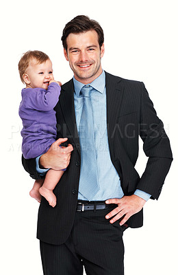 Buy stock photo Proud business man smiling with his baby boy over white background