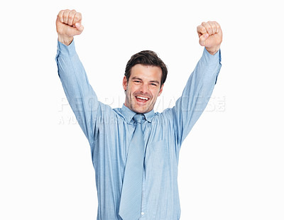 Buy stock photo Excited business man celebrating his victory with arms outstretched over white background