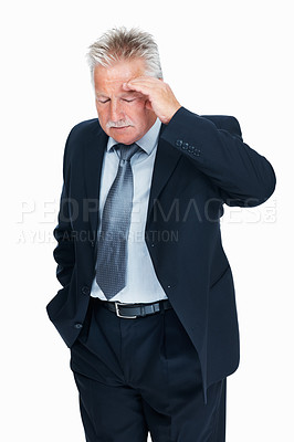 Buy stock photo Portrait of stressed senior business man suffering from headache over white background