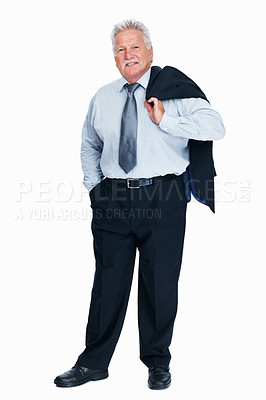 Buy stock photo Full length of relaxed senior business man standing with coat over shoulders on white background
