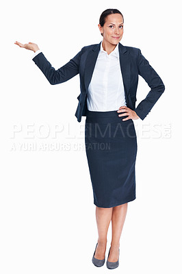 Buy stock photo Full length of smiling business woman giving presentation over white background