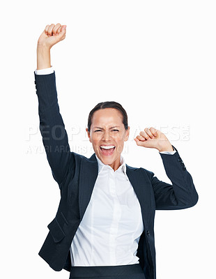 Buy stock photo Portrait of beautiful business woman celebrating success over white background