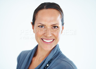 Buy stock photo Closeup of beautiful mixed race woman smiling over white background