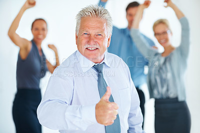 Buy stock photo Portrait of successful senior business man with his cheering team