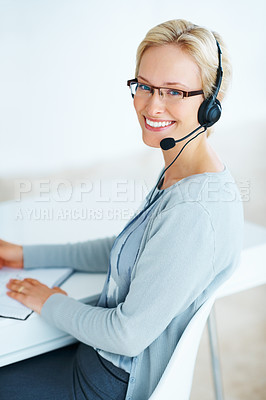 Buy stock photo Portrait of young beautiful woman working with headset in call center