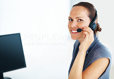 Buy stock photo Portrait of call center female operator smiling while using headset