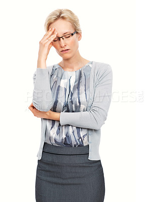 Buy stock photo Portrait of young stressed business woman having headache over white background