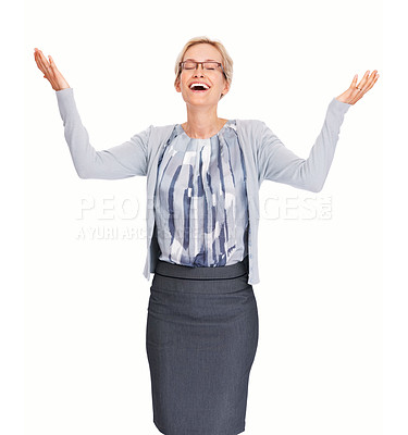 Buy stock photo Portrait of happy young business woman celebrating success with arms raised over white background