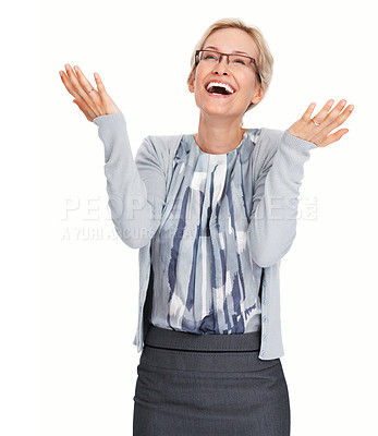 Buy stock photo Portrait of happy business woman celebrating victory on white background