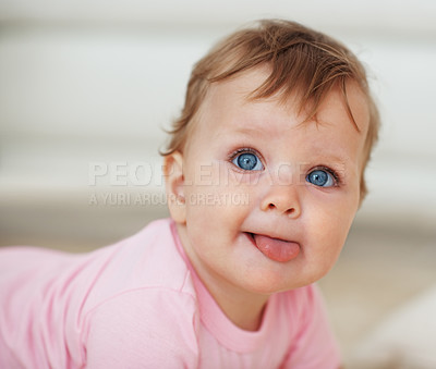 Buy stock photo Closeup portrait of adorable baby boy with blue eyes