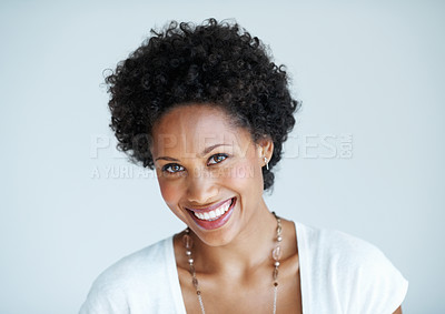 Buy stock photo Closeup of smiling African American woman isolated on plain background