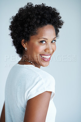 Buy stock photo Portrait of beautiful African American woman laughing