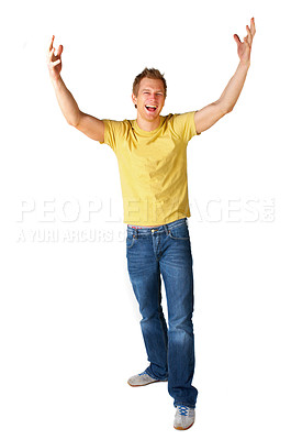 Buy stock photo Young man being very happy and amazed