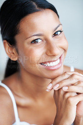 Buy stock photo Closeup portrait of attractive mixed race woman smiling
