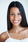 Mixed race woman with attractive smile