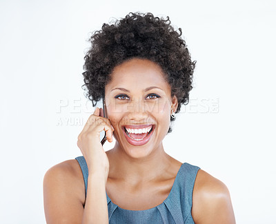 Buy stock photo Portrait of cheerful African American business woman using cellphone over white background
