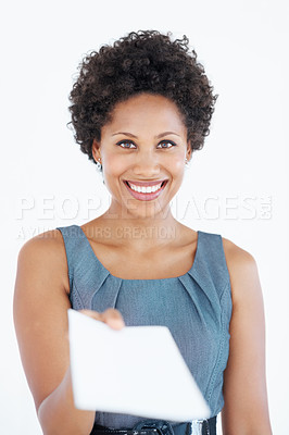 Buy stock photo Portrait of smiling African American business woman holding blank card over white background
