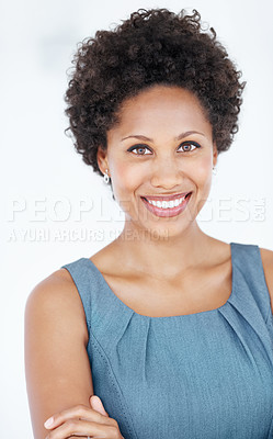 Buy stock photo Portrait of successful business woman smiling over white background