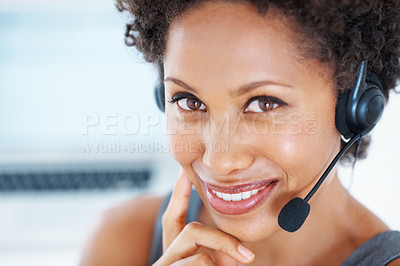 Buy stock photo Closeup portrait female center employee with headset smiling at work