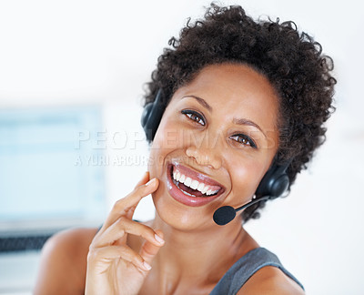 Buy stock photo Portrait beautiful center employee with headset laughing