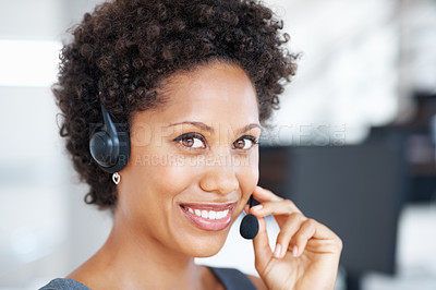 Buy stock photo Closeup of young female customer service representative smiling at work