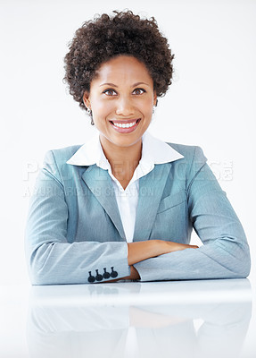 Buy stock photo Portrait of modern business woman smiling in suit