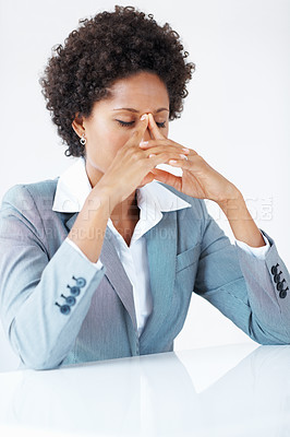 Buy stock photo Tired African American female executive in stress