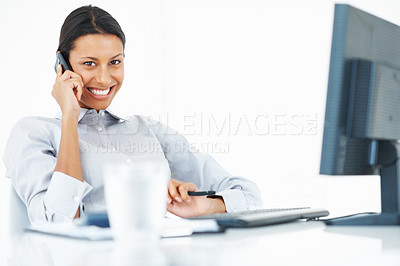 Buy stock photo Portrait of confident mixed race business woman talking on phone at work