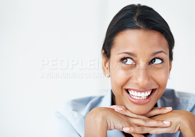 Buy stock photo Closeup of mixed race business woman smiling in cheerful mood