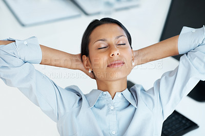 Buy stock photo High angle view of mixed race business resting at work with eyes closed