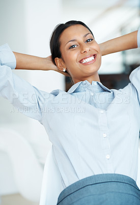 Buy stock photo Smiling business woman smiling at office with hands behind head