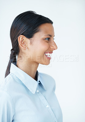 Buy stock photo Confident business woman looking away over white background