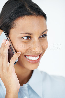 Buy stock photo Closeup of pretty business woman talking on cellphone over white background