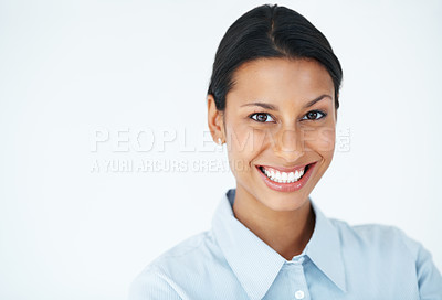 Buy stock photo Closeup of young business woman smiling over white background