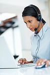 Female call center employee at work