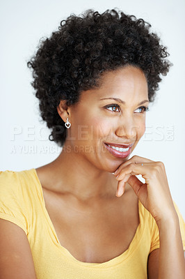Buy stock photo Closeup of attractive African American woman thinking over white background