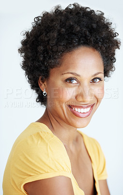 Buy stock photo Closeup portrait of charming African American woman with inviting smile