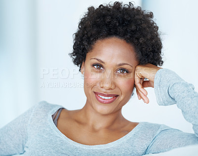Buy stock photo Portrait of attractive young woman smiling on couch