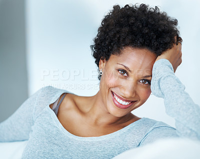 Buy stock photo Portrait of beautiful African American woman relaxing on couch