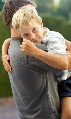 Buy stock photo Shot of a father and son spending quality time together