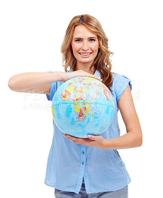 Buy stock photo A pretty young woman showing you Africa on a world globe