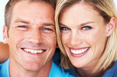 Buy stock photo Closeup portrait of happy middle aged couple smiling together