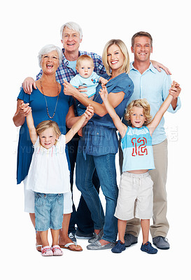 Buy stock photo Full length of happy three generation family smiling together on white background