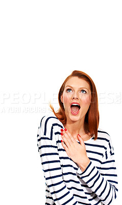 Buy stock photo A young woman gasping in disbelief on a white background