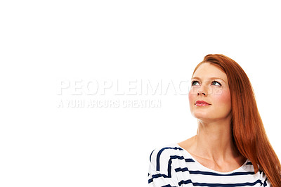 Buy stock photo A gorgeous redhead gazing into the copyspace - Isolated