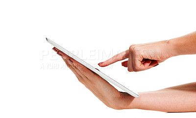 Buy stock photo Closeup of a young woman holding a touch sensitive digital tablet