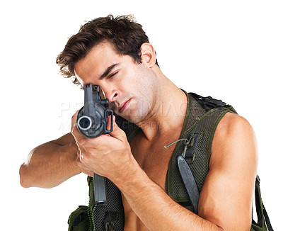 Buy stock photo Attractive young man in a camouflaged vest aiming a M16 rifle at the camera