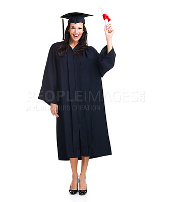 Buy stock photo Full-length image of a happy young graduate holding her diploma in the air